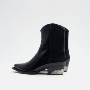 Zara leather black cowboy boots